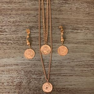 Jessica Simpson Gold Coin Necklace Earring Jewerly